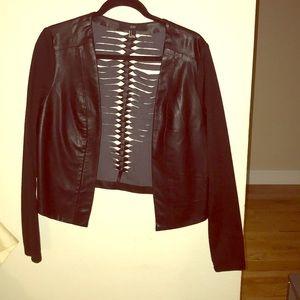 Black leather blazer.
